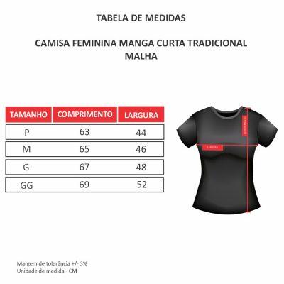 Tabela de medidas - Camisas Femininas